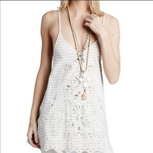 Free People Embroidered Sexy Lace Up Back Tunic